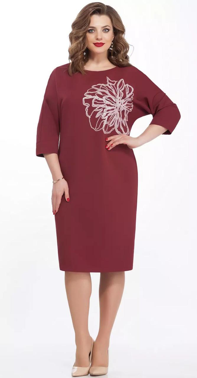 Платье TEZA-125/4, бордовый, 52