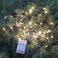Гирлянда светодиодная на батарейках - 5 метра, 50 диодов, тёплый свет, светит постоянно