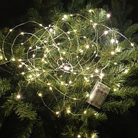 Светодиодная гирлянда на батарейках - 10 метра, 100 диодов, тёплый свет, светит постоянно