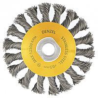 """Щетка для УШМ, 100 мм, """"Тарелка"""", крученая нержавеющая проволока 0.5 мм, М14 Denzel"""