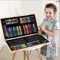 Детский набор для творчества 180 предметов в деревянном кейсе