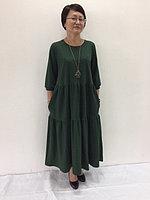 Платье многоярусное бутылочного цвета