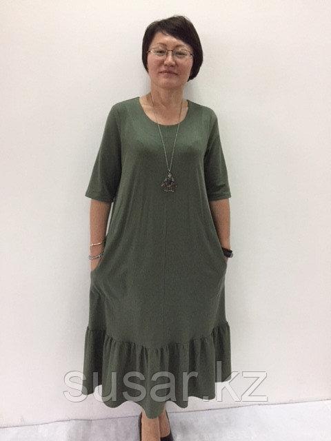 Платье Хаки с воланом