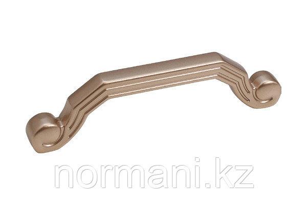 Мебельная ручка скоба, замак, размер посадки 96 мм, цвет золото розовое матовое