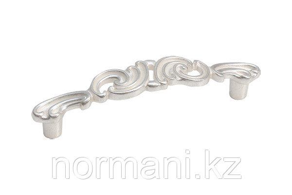 Мебельная ручка скоба, замак, размер посадки 96 мм, цвет серебро с белой патиной