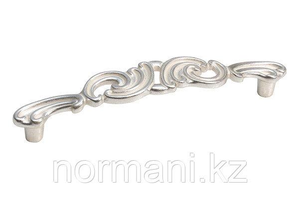 Мебельная ручка скоба, замак, размер посадки 128 мм, цвет серебро с белой патиной