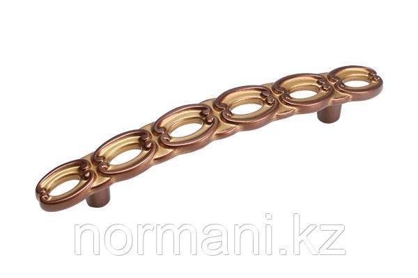 Мебельная ручка скоба, замак, размер посадки 96 мм, цвет медь Сиена с золотой патиной