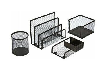 """Набор настольный Berlingo """"Steel&Style"""" 4 предмета, металлический, сетчатый, черный"""
