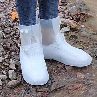 Бахилы силиконовые антискользящие белые прозрачные водонепроницаемые (дождевики для обуви)