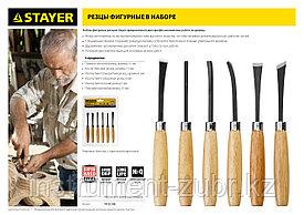 Набор STAYER: Резцы фигурные, с деревянной ручкой, 6шт