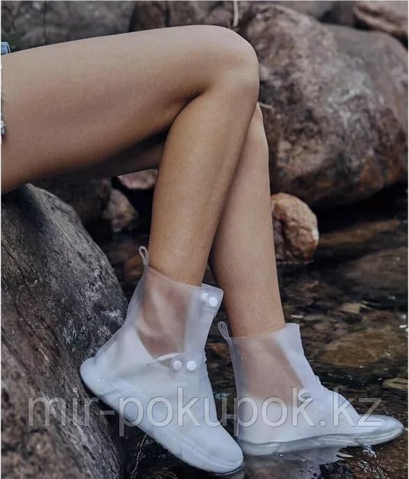 Бахилы силиконовые антискользящие прозрачные водонепроницаемые (дождевики для обуви) - фото 2