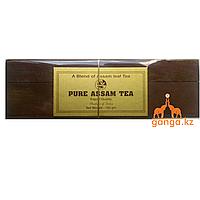 Индийский подарочный чай в деревянной шкатулке Ассам (Pure Assam Tea), 100 г.