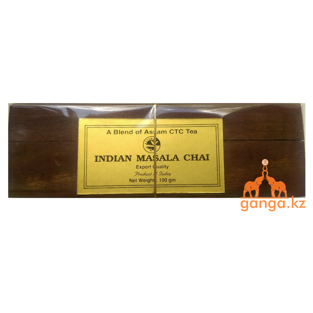 Индийский подарочный чай в деревянной шкатулке Масала (Indian Masala Chai), 50г.