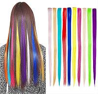 Искусственные волосы (пряди) прямые, цветные, в ассортименте