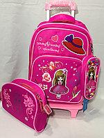 Школьный рюкзак на колесах,для девочек с 1-го по 3-й класс.Высота 47 см, длина 28 см, ширина 22 см., фото 1
