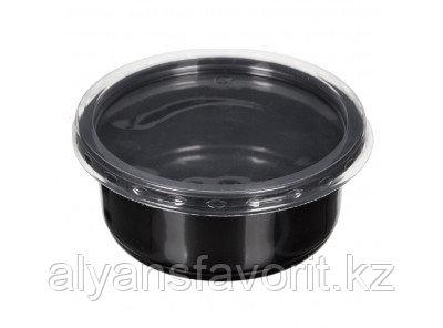 Контейнер суповой К-115 250 мл, с крышкой, черный/прозрачный