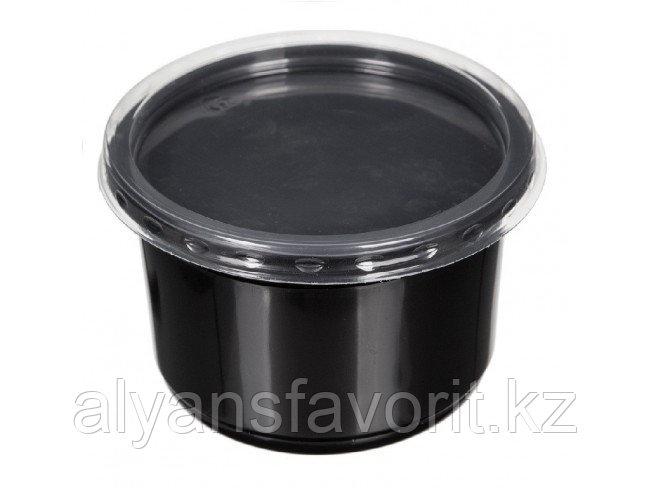 Контейнер суповой К-115 350 мл, с крышкой, черный/прозрачный