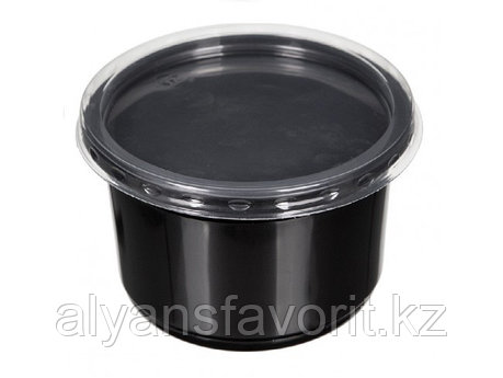 Контейнер суповой К-115 350 мл, с крышкой, черный/прозрачный, фото 2