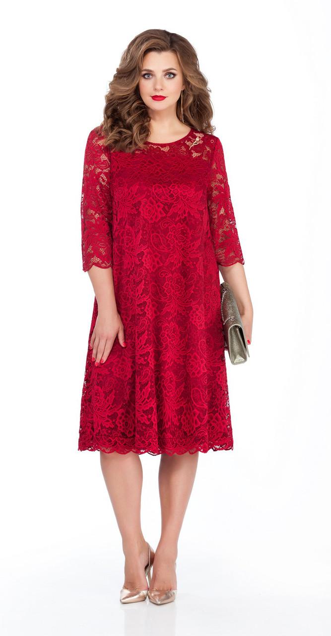 Платье TEZA-249, красные тона, 50