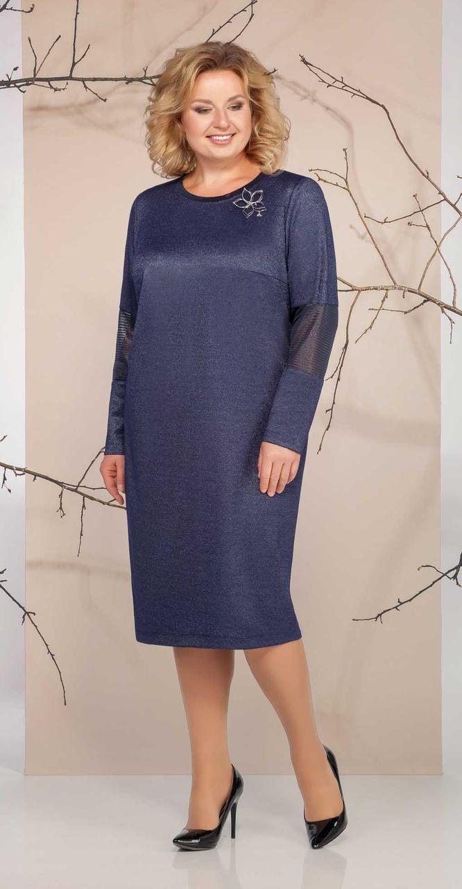 Платье Ивелта плюс-1652, синий оттенок, 54