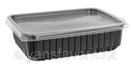 Контейнер с крышкой 1000 мл. 179*132*61,9 мм черный/прозрачный, фото 2