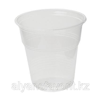 Стакан прозрачный/белый пластиковый 200 мл. РФ, фото 2