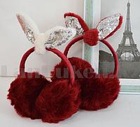 Меховые наушники с бантиком украшенный пайетками 18815-13 красные