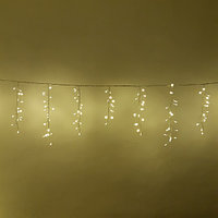 "Новогодняя гирлянда ""Бахрома"" - 5х0,7 метра, 310 лампочек, тёплый свет, светит постоянно"