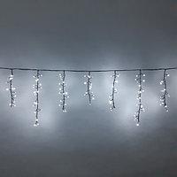 """Уличная гирлянда """"Бахрома"""" - 3,2х0,55 метра, 252 лампочки, белый свет, 8 режимов свечения"""