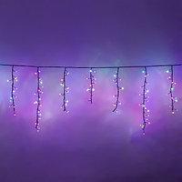 """Световая гирлянда """"Бахрома"""" - 3,2х0,55 метра, 252 лампочки, разноцветная, 8 режимов свечения"""