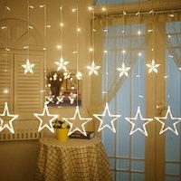 """Светодиодная гирлянда """"Звездопад"""" - 3х0,9 метра, 12 звёзд, тёплый свет, 8 режимов свечения"""