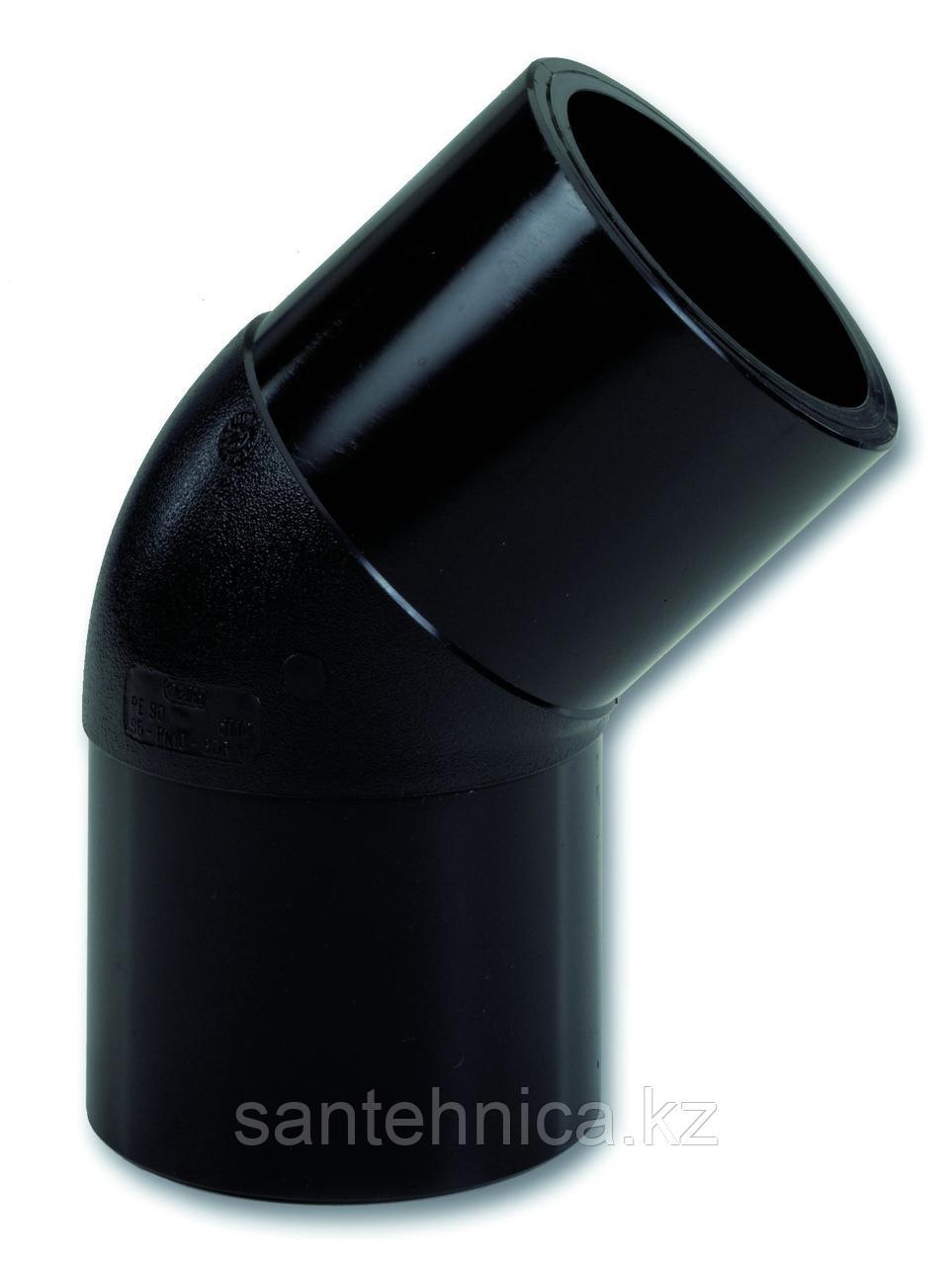 Отвод ПЭ100 спигот Дн 110*45гр SDR 17 Ру10 напорный