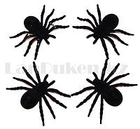 Искусственные пауки чёрного цвета штуки (ширина 10 см)