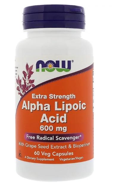 Now Foods, Альфа-липоевая кислота, экстра сила, 600 мг, 60 растительных капсул