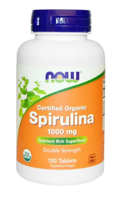 Now Foods, Certified Organic, спирулина, 1,000 мг, 120 таблеток