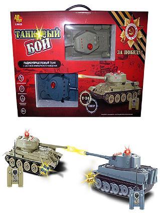 Танковый бой р\у в наборе 2 танка Т34 и Тигр звуковые и световые эффекты.