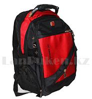 Городской рюкзак SWISSGEAR с USB портом бордовый с круглыми боковыми карманами дырки по бокам