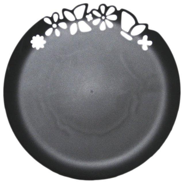 Блюдо с ажурным краем, черное, 273 мм, ПП, 3 шт