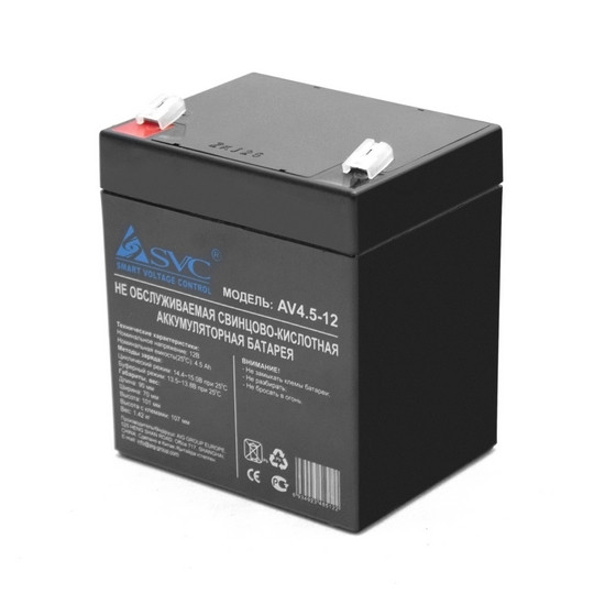SVC AV4.5-12 Батарея Свинцово-кислотная 12В 4.5 Ач Размер в мм.: 106*90*70