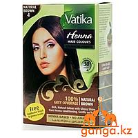 Хна для окрашивания волос Натурально-коричневая Ватика (Natural Brown Vatika DABUR), 6 шт