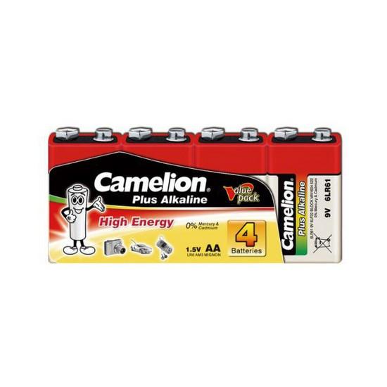 CAMELION 6LR61-SP4 Батарейка Plus Alkaline, 6F22(крона), 9V, 680 mAh, 4 шт., Плёнка