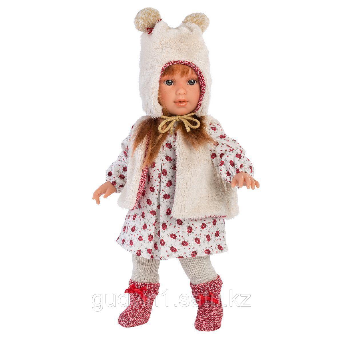 LLORENS: Кукла Мартиная 40см, шатенка в мехавом жилете и шапочке 54026