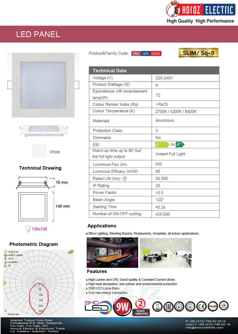 LED панель светодиодная квадратная 146x146 SLIM/Sq-9 9W 6400K