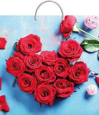 """Пакет с пластиковой ручкой  37*36см """"Розы в лазури"""", ПВД, 100мкм, 50 шт"""
