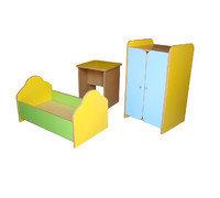 Набор кукольной мебели, 3 предмета (столк, кровать, шкаф)