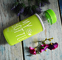 Бутылочка пластиковая с чехлом для напитков My Bottle 500 мл (май батл зеленая)