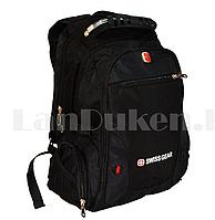 Городской рюкзак SWISSGEAR с дождевиком и USB портом черный 1522