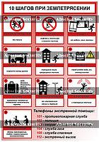 """Плакат """"10 шагов при землетрясении - рус"""""""