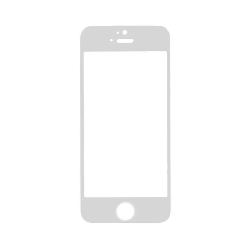 Защитное стекло 5D A-Case Apple iphone 5, iphone 5S, iphone SE, Окантовка White