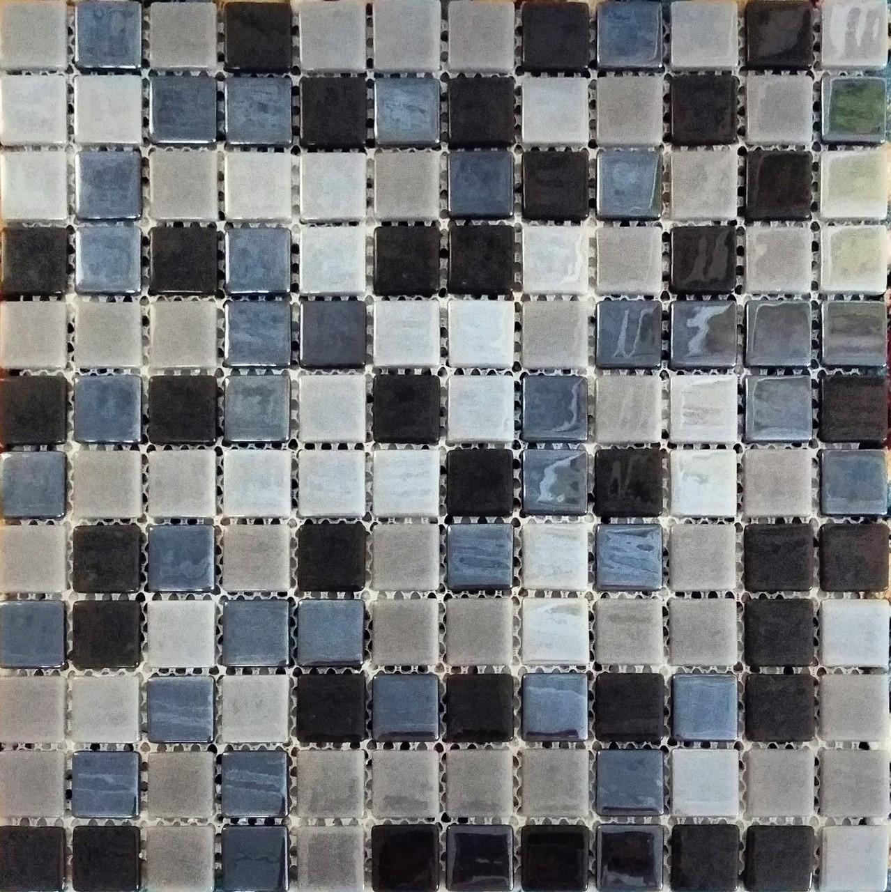 Перламутровая мозаичная плитка зеркально-серо-чёрная